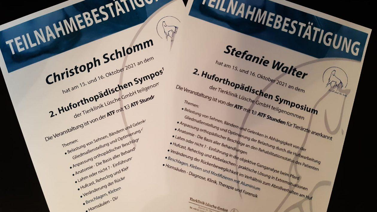 Zertifikat Huforthopädischen Symposium